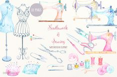 Watercolor Clip Art Niddlework and Sewing, vintage sewing machine, dressmaking mannequin, scissors for instant download scrapbook by CornerCroft on Etsy