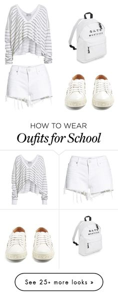 """Sans titre #10"" by ocelf on Polyvore featuring Wildfox, Hudson Jeans and Aquazzura"