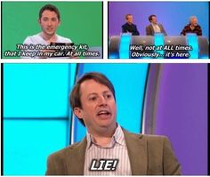 "When Jon Richardson moved his emergency kit. 26 Times ""Would I Lie To You?"" Was The Best Show On Television Jon Richardson, The Comedian, Comedian Quotes, Funny Quotes, Funny Memes, Jokes, British Comedy, English Comedy, British Humour"