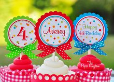 Polka Dot Cupcake Toppers in Primary Colors   by thepaperkingdom, $13.00