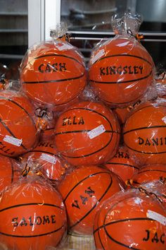 Basketball themed birthday party - with monogrammed basketballs as favors