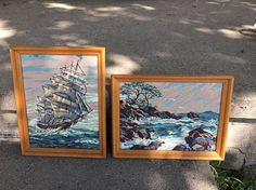 Vintage Paint By Number Clipper Ship & Ocean scene set of 2