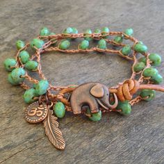 Elephant, Turquoise Copper Om, Feather Knotted Multi Wrap Bracelet, Bohemian Chic