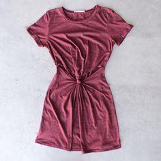 knot it knot-front t-shirt dress - burgundy - shophearts