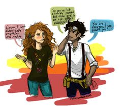 Leo Valdez and Rachel Elizabeth Dare. Cute, but I don't ship them. I ship them more then Reyna/Leo but. It'd seem almost TOO Disney-perfect-ending if Leo got a girl. Percy Jackson Fan Art, Percy Jackson Memes, Percy Jackson Books, Percy Jackson Fandom, Solangelo, Percabeth, Viria, Hunger Games, Dibujos Percy Jackson
