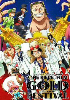 Straw Hat Crew, Mugiwara, Luffy, Sanji, Zoro, Chopper, Usopp, Brook, Franky, Nami, Robin, characters, Koala, Sabo, Gild Tesoro, text, white, outfits, suits, One Piece Gold Film, movie; One Piece