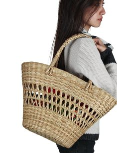 Tribe Azure - Straw Shoulder Bag Large Shopping Market Handbag Beach Picnic Women's Tote Basket - Walmart.com Beach Picnic, Large Bags, Straw Bag, Hand Weaving, Take That, Basket, Reading Challenge, Shoulder Bag, Walmart