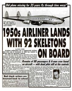Original publication of 1950s missing airliner with 92 skeletons on board