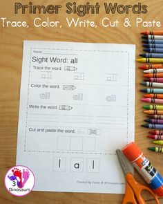 Free Primer Sight Word Trace, Color, Write, Cut & Paste - all 52 dolch primer sight words in an easy to use worksheet that has trace, coloring, writing, and cut and paste for the sight words - 3Dinosaurs.com - 3Dinosaurs.com #freeprintable #sightwords #primersightwords #3dinosaurs #learningtoread Learning Sight Words, Sight Words List, Dolch Sight Words, Sight Word Worksheets, Sight Word Activities, Learning Activities, Reading Lessons, Cut And Paste, Word Families