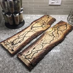 Wood Burned Serving Trays. Burned with Electricity. This is called Litchtenburg Patterns. A rustic look on pine wood and silver handles.