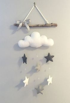 Cloud & Stars Driftwood Mobile The Effective Pictures We Offer You About baby room decor dark wood A quality picture can tell you many things. Baby Bedroom, Baby Room Decor, Nursery Decor, Baby Boy Rooms, Baby Crafts, Felt Crafts, Diy And Crafts, Driftwood Mobile, Star Mobile
