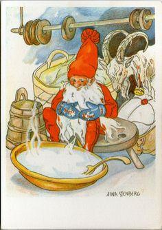 AK - Künstlerkarte - AINA STENBERG - ZWERG - JULBOCK - Gelaufen 1975 Schweden