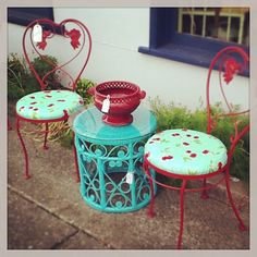 Red Cherry Oilcloth Iron Cafe Chairs. Red Iron, Cafe Chair, Seascape Blue  Wicker Table With Glass Top. Outdoor Furniture. Cute Patio Set.