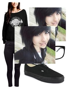 """Smosh"" by lfromdeathnote ❤ liked on Polyvore featuring H&M, Vans and GlassesUSA"