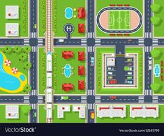 Buy City Map Top View by macrovector on GraphicRiver. City map top view poster with roads houses pool parking field and railroad flat vector illustration. Editable EPS and. Vector Free Download, Free Vector Images, Vector Art, Vector Graphics, Vector Illustrations, Free Poster, Subway Map, City Maps, Vector Photo
