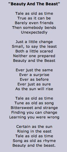 tale as old as time lyrics - Google Search