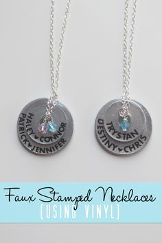 Faux Stamped Necklaces - a fun gift idea using Vinyl & your Silhouette CAMEO or Portrait!