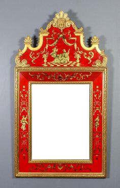 A late 20th Century Italian gilt framed and verre eglomise m