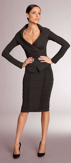 ~ What a great way to wear a beautiful basic black suit.  From the Donna Karan 2013 Collection.  Love the shirring on the skirt; the collar on the jacket.  It looks like a trans-seasonal look to be worn year round.  A great staple suit to wear together or broken up with other pieces for more longevity. ~