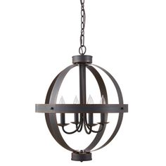 allen + roth 17.72-in W Oil-Rubbed Bronze Vintage Pendant Light with Shade