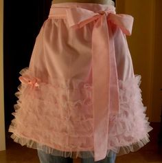 Pink Angel Ruffles with Satin Bow and Rosebud Trim