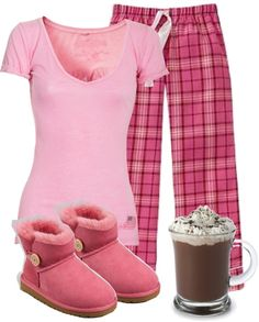 "Two of my favourite things, pink & pjs! ""Pink Pyjamas"" by denise-schmeltzer ❤ liked on Polyvore"