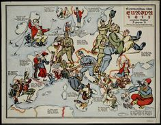 German view of the European atlas: 1915. Brave German and Austrian soldiers jostle together huge clumsy Russian peasant from Europe  Ян - Юмористические географические карты столетней давности