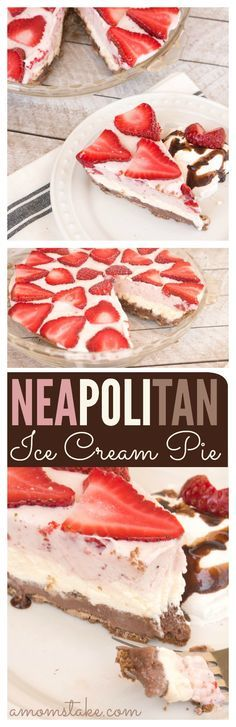 Ad Yummy, yummy! You'll find layers of chocolate, vanilla, and strawberry ice cream - and a few surprises - in this perfect summer dessert, an easy homemade Neapolitan Ice Cream Pie recipe. #IceCreamTruckTreats2016