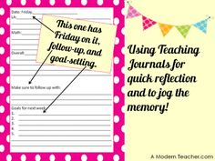 2nd Day of New Freebies-Teaching Journal