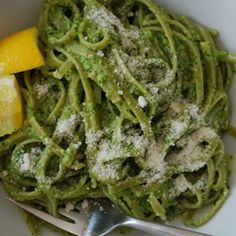 Spinach Pasta with Asparagus Pesto   MyRecipes.com