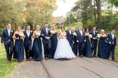Bridal party all in navy! LOVE IT! Except put the groom in charcoal/grey to make him stand out ❤