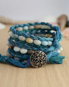 Turquoise sari silk bracelet. Rustic beaded wrap on Etsy, $55.51