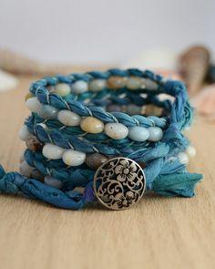 Turquoise sari silk bracelet. Rustic beaded wrap on Etsy, $55.51