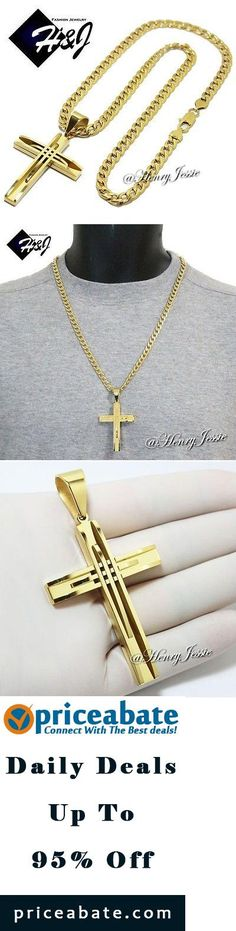"#Priceabate 24""MEN Stainless Steel 6mm Gold Cuban Curb Link Chain Necklace Cross Pendant*GA - Buy This Item Now For Only: $27.99"