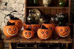 Grinny Pumpkin Cauldrons by Pixie Dust Miniatures. $42.99, via Etsy.