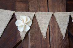 Burlap Bunting Banner, wedding decor, rustic decor,. $25.00, via Etsy.