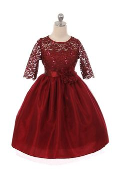 bb0fe14d5081 Girls' Burgundy Stretch Lace Dress with Contrast Tulle #instagram  #fashionstyle #instalikes #. Oasislync