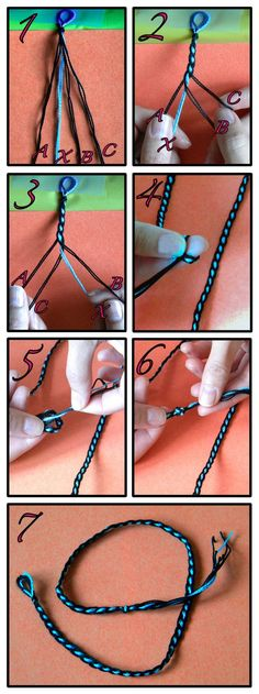 Friendship bracelet - Simple braid around contrasting colored core  . . .  ღTrish W ~ http://www.pinterest.com/trishw/  . . .  #handmade #jewelry #braiding