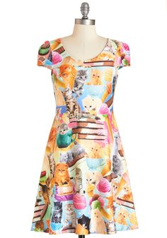 I Scream, Mew Scream Dress. We all scream with delight for this sweet-as-can-be cat-printed dress! #multi #modcloth