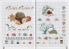 Little animal cross stitch charts Hedgehog Cross Stitch, Fall Cross Stitch, Cross Stitch Books, Cross Stitch Borders, Cross Stitch Animals, Cross Stitch Charts, Cross Stitch Designs, Cross Stitching, Cross Stitch Embroidery