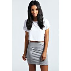 Boohoo Basics Maisy Basic Bodycon Mini Skirt ($8) ❤ liked on Polyvore featuring skirts, mini skirts, grey marl, body con mini skirt, embellished mini skirt, bodycon skirt, short mini skirts and tube mini skirt