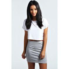 Boohoo Basics Maisy Basic Bodycon Mini Skirt ($8) ❤ liked on Polyvore featuring skirts, mini skirts, grey marl, short mini skirts, high waisted mini skirt, grey skirt, short skirts and bodycon mini skirt