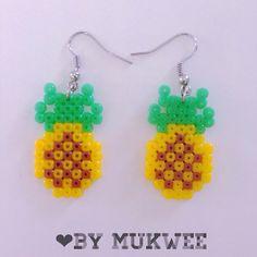 Pinneapples earrings perler beads by bymukwee