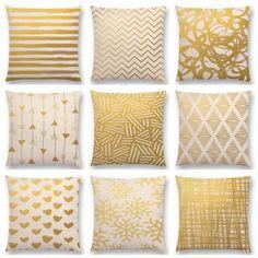 Лидер продаж золотой искусства декоративные треугольники полосы линии абстрактный геометрический узор печатает подушке Home Decor диван подушка купить на AliExpress