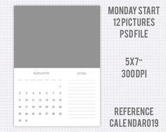 Plantilla calendario año 2017 5X7 pulgadas versión europe monday start (12…