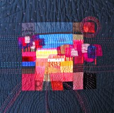 One of Ineke's inspiring pieces. I like the idea of a burst of colour, perhaps offset and surrounded by darker fabrics. Quilting Tips, Quilting Projects, Sewing Projects, Contemporary Quilts, Mini Quilts, Textile Artists, Quilt Making, Fiber Art, Quilt Patterns