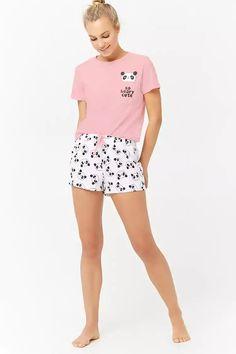Product Name:Pyjama met Panda Graphic Category:intimates_loungewear - Loungewear - Ideas of Loungewear Cute Pajama Sets, Cute Pjs, Pajamas For Teens, Girls Pajamas, Cute Sleepwear, Loungewear Set, Pajama Outfits, Cute Outfits, Forever 21 Pajamas