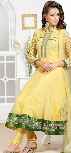 Beautiful pale yellow anarkali churidar: KSL2487