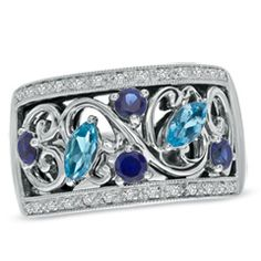 1/8 CT. T.W. Diamond and Marquise Blue Topaz with Lab-Created Blue Sapphire Scroll Ring in Sterling Silver - View All Rings - Zales