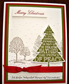 Peaceful Pines meets Lovely As A Tree.  Real Red, Old Olive and Crumb Cake inks on coordinating card stock.  Softly Falling Embossing Folder.  Real Red ribbon.  Merry Christmas from Come to Bethlehem set.